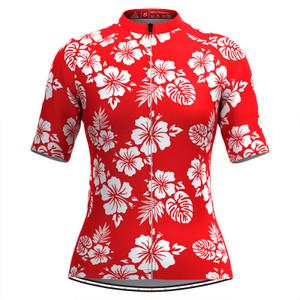 Women Tropical & Floral Print Hawaiian Cycling Jersey Red