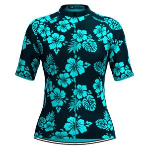Women Tropical & Floral Print Hawaiian Cycling Jersey Blue
