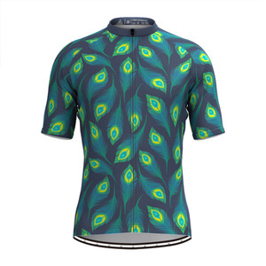 Men's Allover Peafowl Feather Print Cycling Jersey