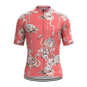 Men's Flamingo Floral Print Hawaiian Cycling Jersey