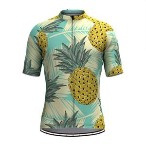 Men's Fruit Print Aloha Hawaiian Jersey - Pineapple