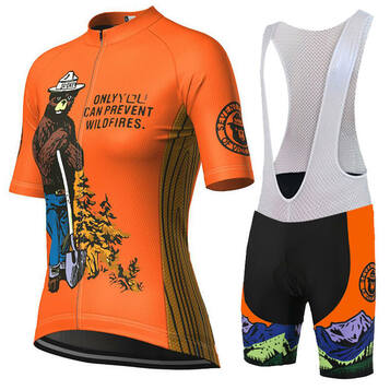 Women/'s Smokey Bear Prevent Wildfires Long Sleeve Cycling Jersey