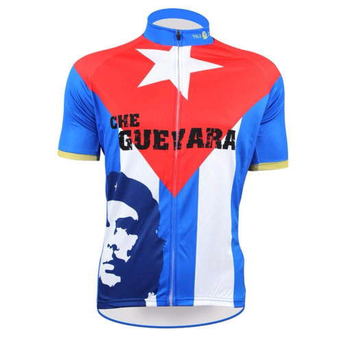 Che Guevara Short Sleeve Cycling Jersey Blue Red  6525d103f