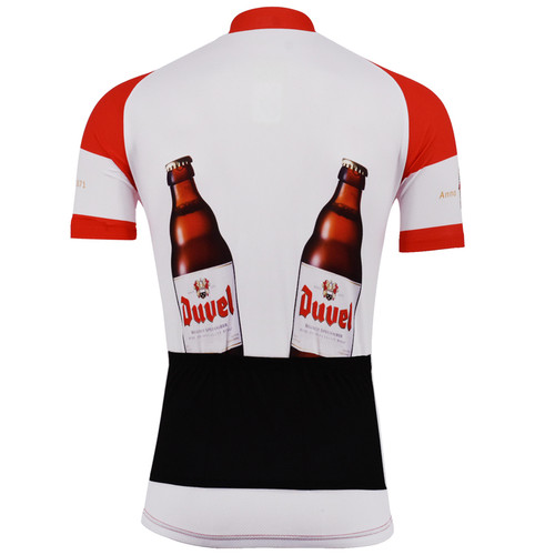 Duvel Beer Retro Cycling Jersey Red White