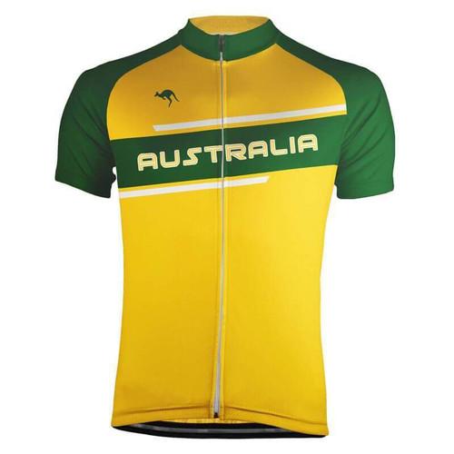 Australia Green Gold Stripe Men's Cycling Jersey
