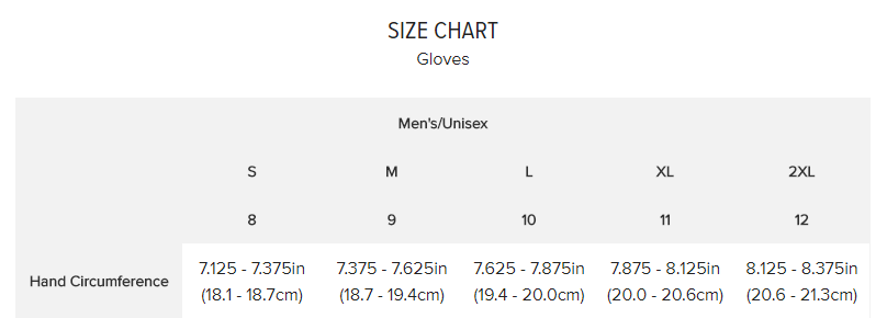 AIRMATIC Glove size chart freestylecycling