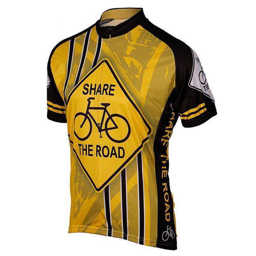 Yellow Share The Road Cycling Jersey  ff7c6a191