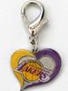 Los Angeles Lakers Swirl Heart dog collar Charm - by Diva-Dog.com
