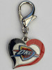 Oklahoma City Thunder Swirl Heart dog collar Charm - by Diva-Dog.com