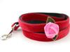 Rosebud Red Velvet dog leash - by Diva-Dog.com
