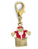 Santa in the Chimney dog collar charm. Available in silver or gold. By www.diva-dog.com