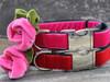 Rosie pink and red velvet dog collar by diva-dog.com