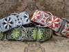 From left to right: Pinwheel  Norway Winter, Dutch Spring and Zanzibar Market martingale and extra wide dog collar by www.diva-dog.com