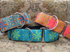 From left to right: Pinwheel  Gypsy Traveller, Caribbean Blue and Mexicali Sunset martingale and extra wide dog collar by www.diva-dog.com