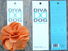 Derby Melon Orange Linen flower for dog collars in packaging by www.diva-dog.com