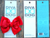 Tuxedo red bow for dog collars in packaging by www.diva-dog.com