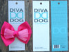 Tuxedo pink bow for dog collars in packaging by www.diva-dog.com