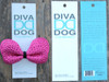 Butterfly studded pink bow for dog collars in packaging by www.diva-dog.com