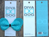 Butterfly studded blue bow for dog collars in packaging by www.diva-dog.com