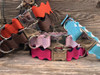 Brick-A-Bark dog collar from left to right: brown, orange, light pink, hot pink and blue - by Diva-Dog.com