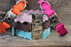 Brick-A-Bark dog collar from left to right: orange, light pink, brown, blue and hot pink - by Diva-Dog.com
