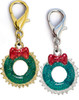Christmas Wreath dog collar charm. Available in silver or gold. By www.diva-dog.com