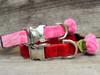 Rosebud Pink Velvet and Red Velvet Dog Collar - by Diva-Dog.com