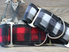 Buffalo Plaid Glacier White and Sierra Red martingale collars by www.diva-dog.com