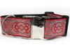 Kashmir Empress Red extra wide dog collar by www.diva-dog.com