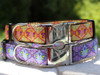 Queen Bee dog collar shown in pink lemonade and blueberry pie colors by www.diva-dog.com