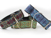 Kashmir dog collar in peacock blue, temple red or turquoise - by www.diva-dog.com