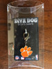Clemson University Tigers dog collar charm in packaging by diva-dog.com