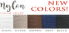 Choose from FIVE nylon backing colors: Black, White, Silver, Navy or Brown