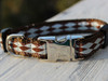 Harlequin Blue Dog Collar - shown with brown backing. by Diva-Dog.com
