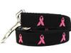 Breast Cancer Awareness pink ribbon black Leash - by Diva-Dog.com