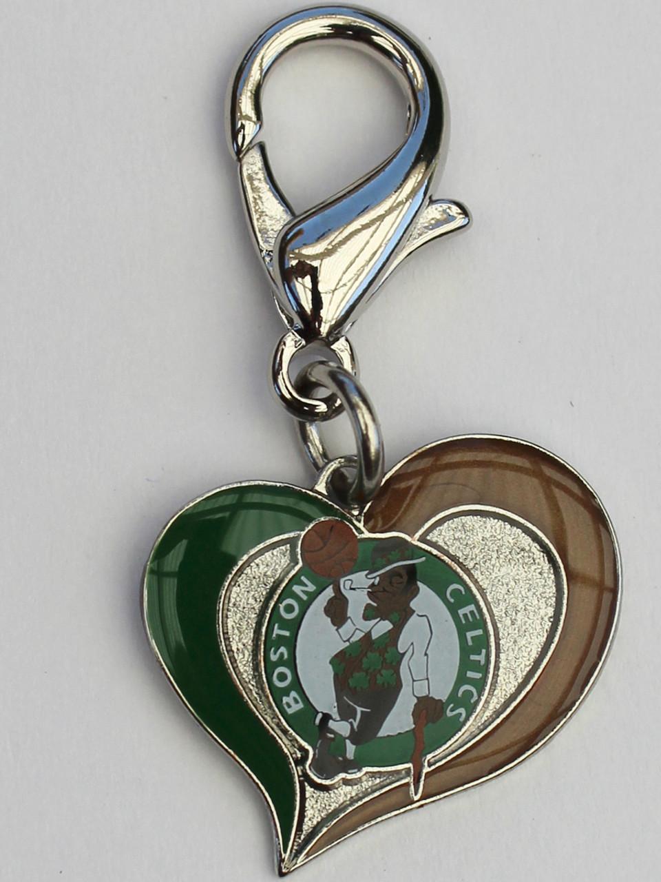 e207309a Boston Celtics Swirl Heart dog collar Charm - by Diva-Dog.com
