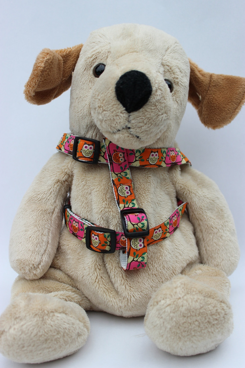 323bf1729 H Owl Pink and Orange step-in Harness - by Diva-Dog.