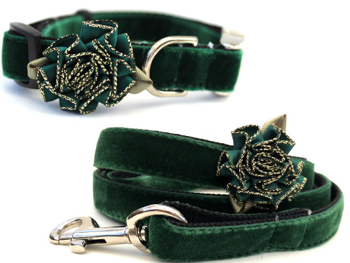 Pine Green Mistletoe dog collar and leash- by Diva-Dog.com