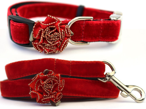 Mistletoe dog collar and leash shown in Holly Red by diva-dog.com