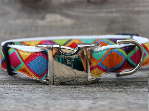 "Tanzania dog Collar - by Diva-Dog.com shown in ""bright""."
