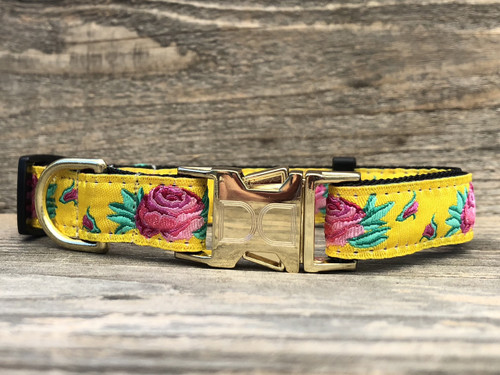 Spanish Rose dog Collar with gold buckle - by Diva-Dog.com