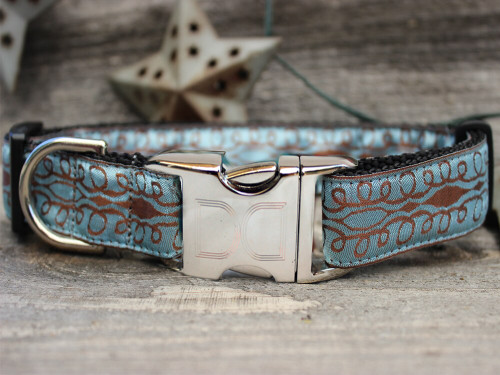 Calligraphy Blue Dog Collar - by Diva-Dog.com