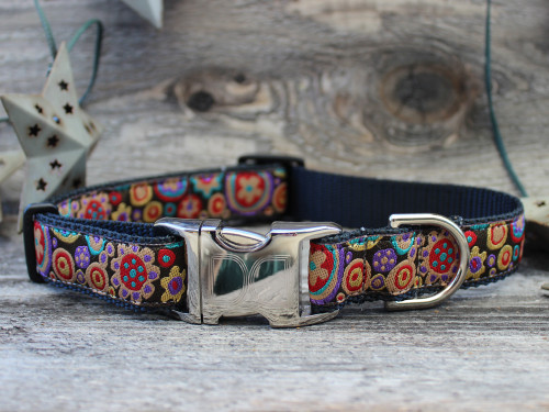 Ibiza Gumdrop Dog Collar - by Diva-Dog.com shown in the dark color palette