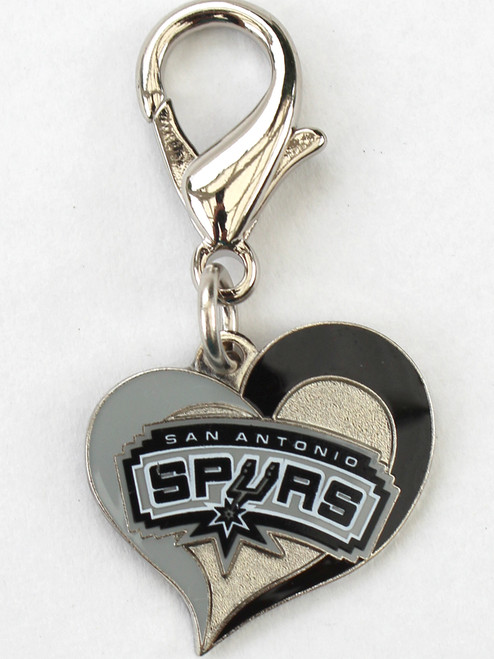 San Antonio Spurs Swirl Heart dog collar Charm - by Diva-Dog.com