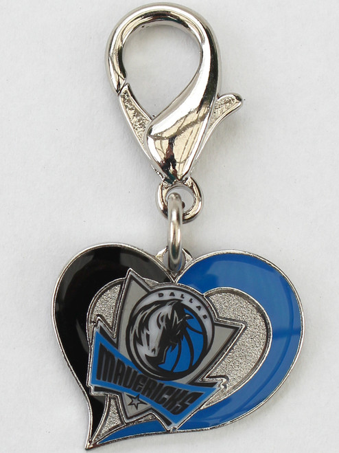 Dallas Mavericks Swirl Heart dog collar Charm - by Diva-Dog.com