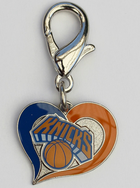 New York Knicks Swirl Heart dog collar Charm - by Diva-Dog.com