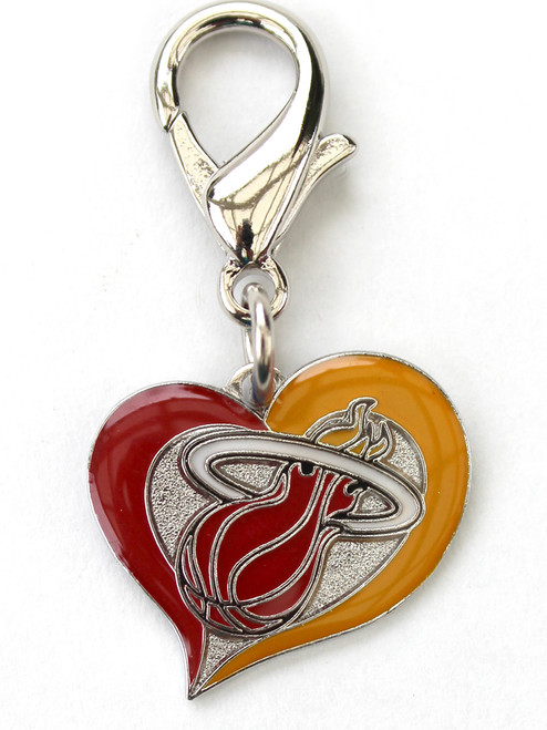 The Miami Heat Swirl Heart dog collar Charm - by Diva-Dog.com