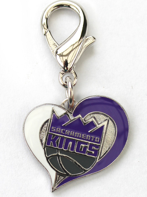 The Sacramento Kings Swirl Heart dog collar Charm - by Diva-Dog.com