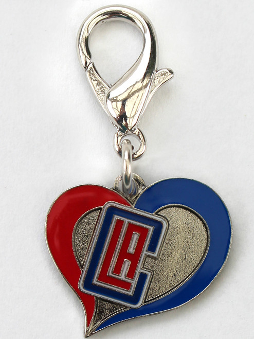 The Los Angeles Clippers Heart dog collar Charm - by Diva-Dog.com