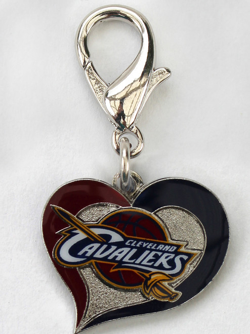 The Cleveland Cavaliers swirl heart dog collar Charm - by Diva-Dog.com